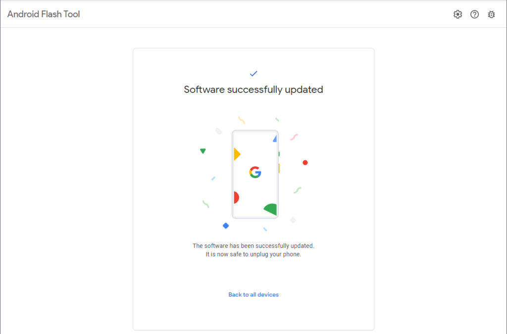 Android 11 Flash Tool Sofware Update Finished