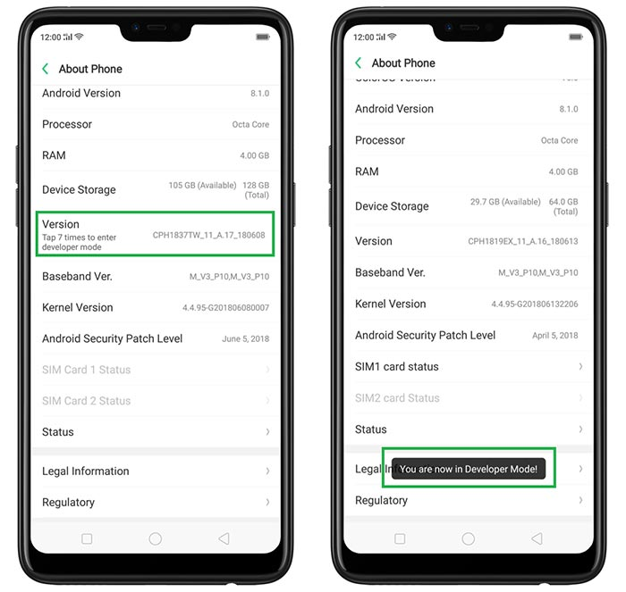 Enable Developer Options on Realme Phones
