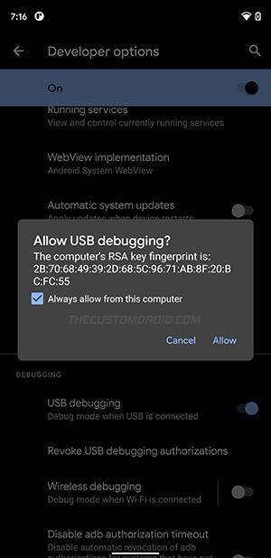 Allow USB Debugging on Google Pixel
