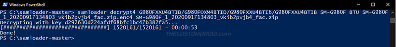 Decrypt enc4 firmware file using Samloader Decrypt4 command