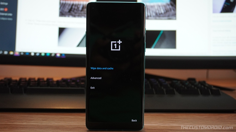 """Select """"Wipe data and cache"""" in OnePlus 8T Stock Recovery"""