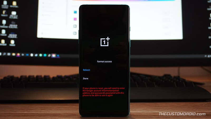 Reboot into system after factory resetting OnePlus 8T