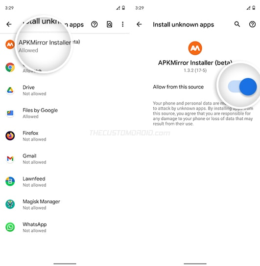"Turn ON ""Install from this source"" for APKMirror Installer app"