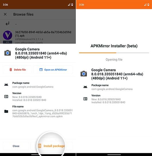 Load Google Camera 8.0 app bundle in APKMirror Installer