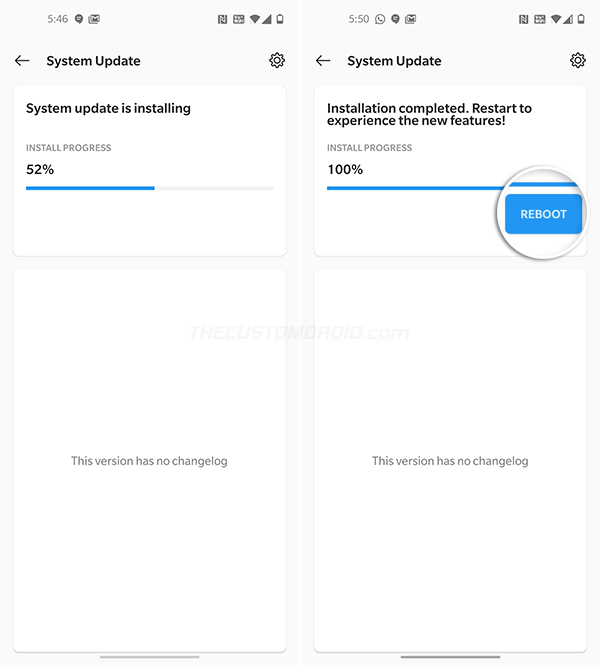Reboot your OnePlus 8/8 Pro after OTA installation finishes