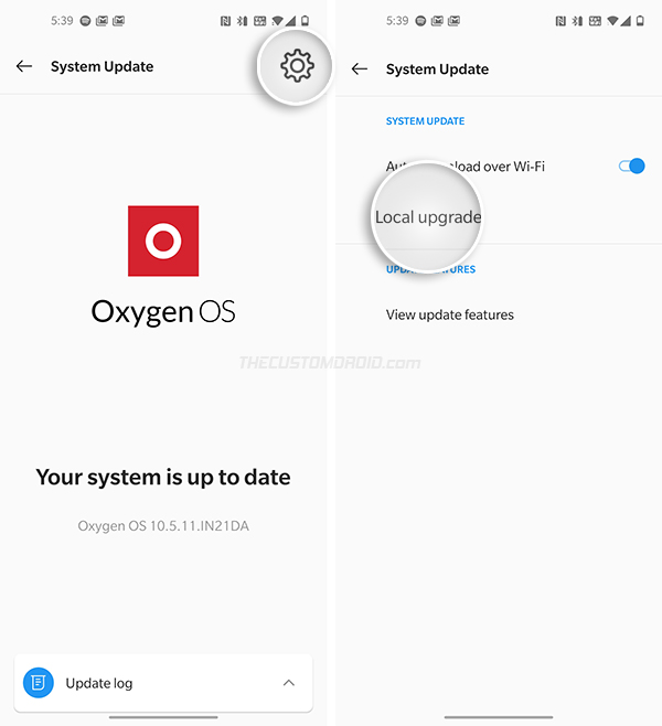 Manually Install OxygenOS on OnePlus 8 - Select 'Local Upgrade'