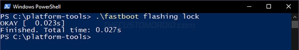 "Enter ""fastboot flashing lock"" command to relock bootloader on OnePlus 8T"