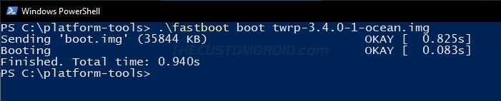 Temporarily Boot TWRP Recovery Image on Moto G7 Power