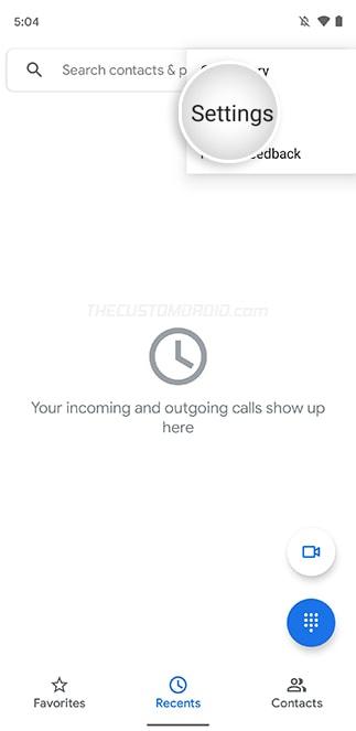 Select 'Settings' in Google Phone App