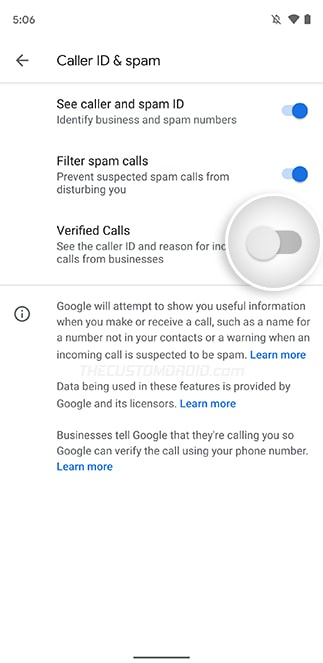 Turn ON Verified Calls Toggle in Google Phone App