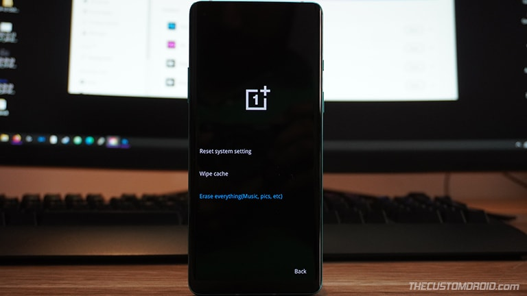 "Select ""Erase Everything"" in OnePlus Nord OxygenOS Recovery"