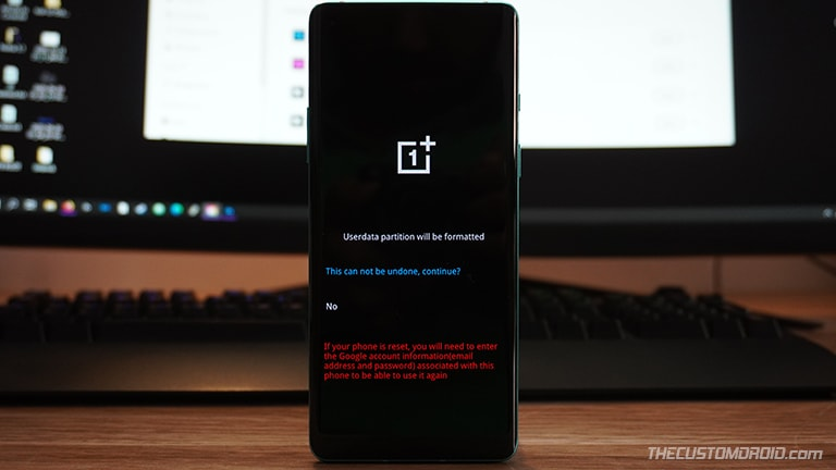 "Select ""This can not be undone, continue?"" to factory reset the OnePlus Nord"