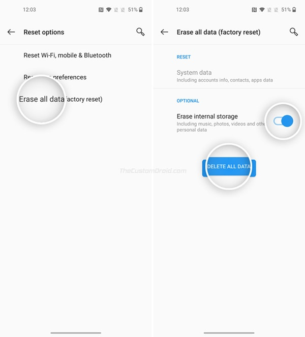 "OnePlus Nord Factory Reset via Settings - Select ""Erase all data"""