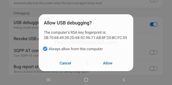 Step 4: Allow USB Debugging on Galaxy Tab A7