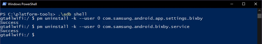 Uninstall preinstalled system apps from Galaxy Tab A7 using ADB