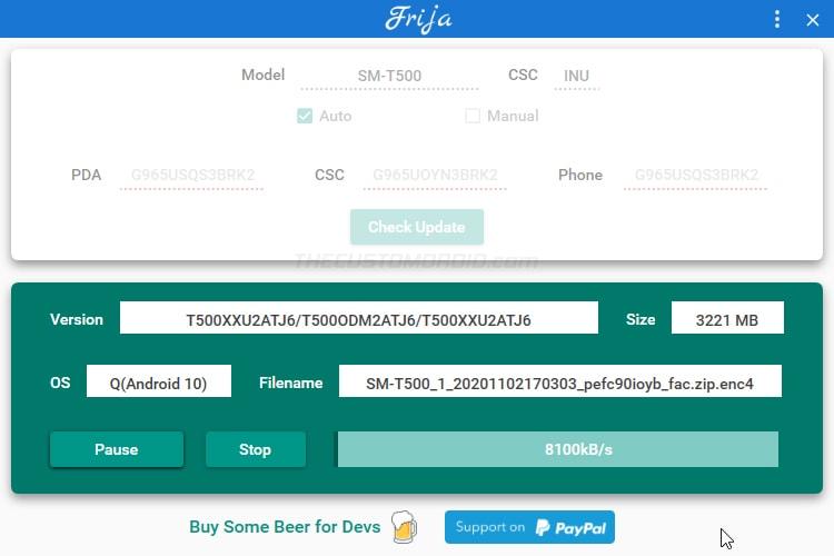 Download Galaxy Tab A7 Stock Firmware Package using Frija