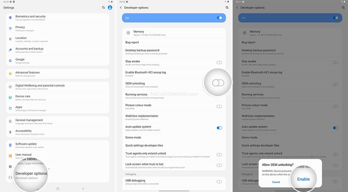 Enable OEM Unlocking on Galaxy Tab A7 10.4 (2020)