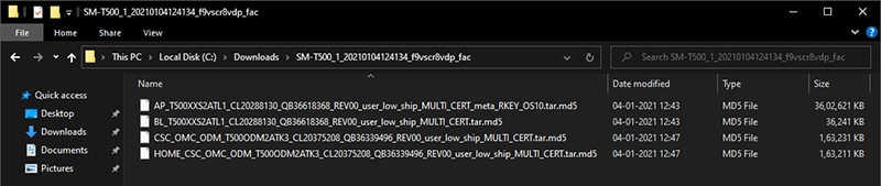 Extracted firmware files (AP, BL, CP, and CSC)