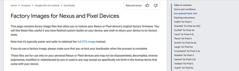 Google publishes factory images for its Pixel devices
