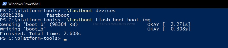Enter fastboot command to flash boot image to your OnePlus Nord