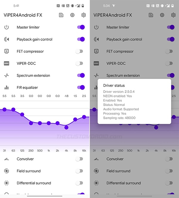 Enable ViPER4Android audio processing on OnePlus 8 and check driver status