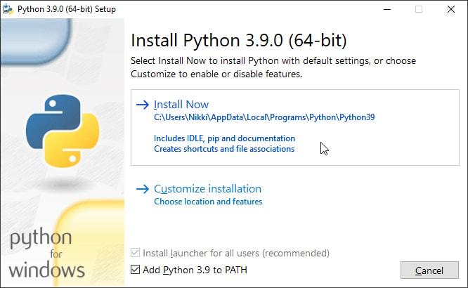 Install Python on your Windows computer