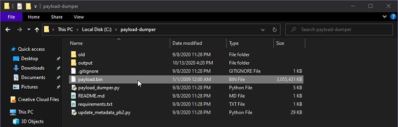 Copy the payload.bin file inside 'payload_dumper' folder