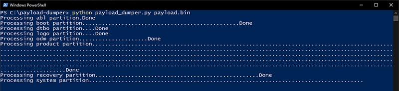 Payload Dumper extracting the device partition images from payload.bin
