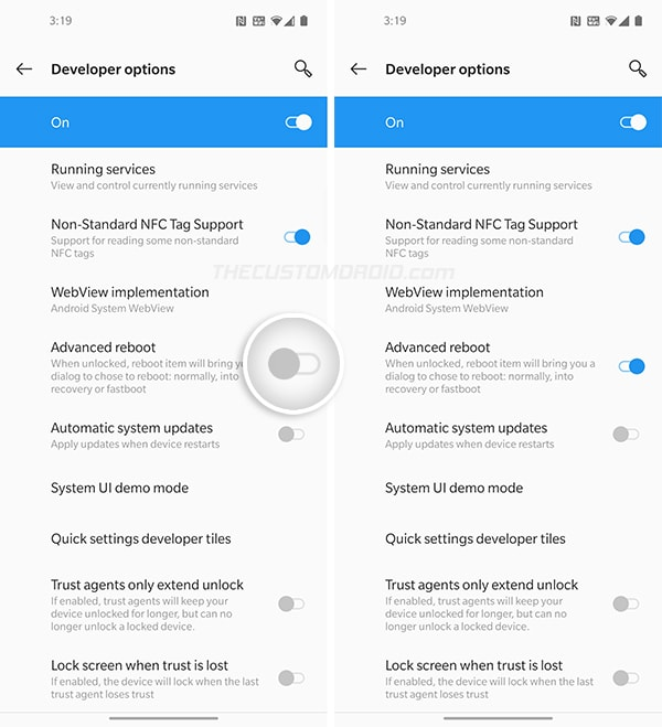 """Turn on """"Advanced Reboot"""" toggle in Developer Options on OnePlus Nord"""