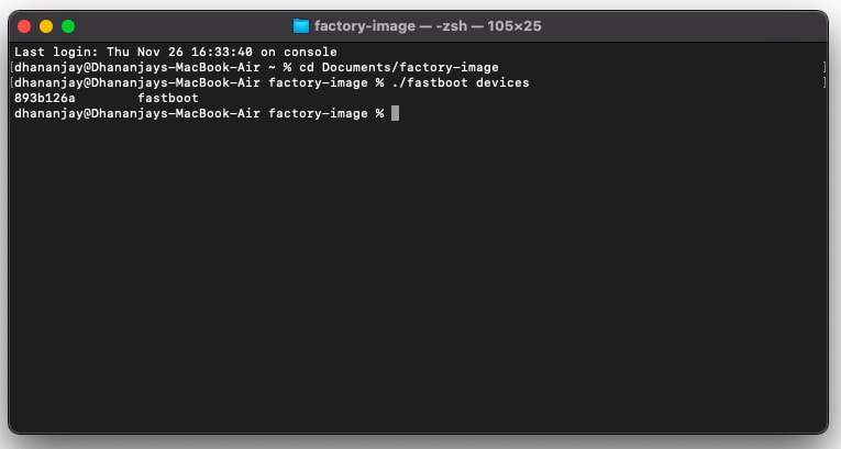 Verify device-PC connection with 'fastboot devices' command