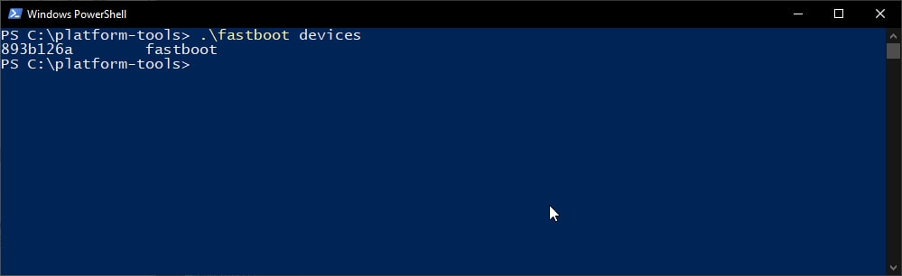 Verify fastboot connection using 'fastboot devices' command