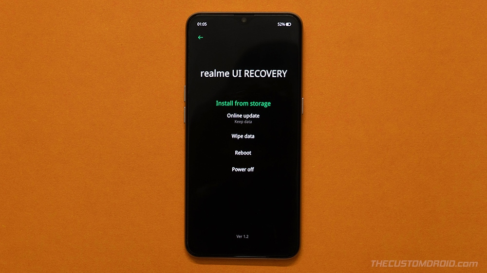 Select 'Wipe Data' Option in Realme X2 Pro Stock Recovery