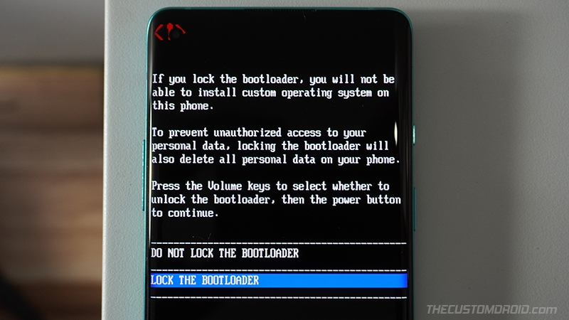 Confirm to relock the bootloader on OnePlus Nord