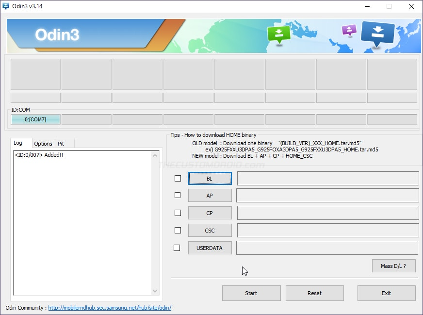 Download and launch Odin tool on the computer