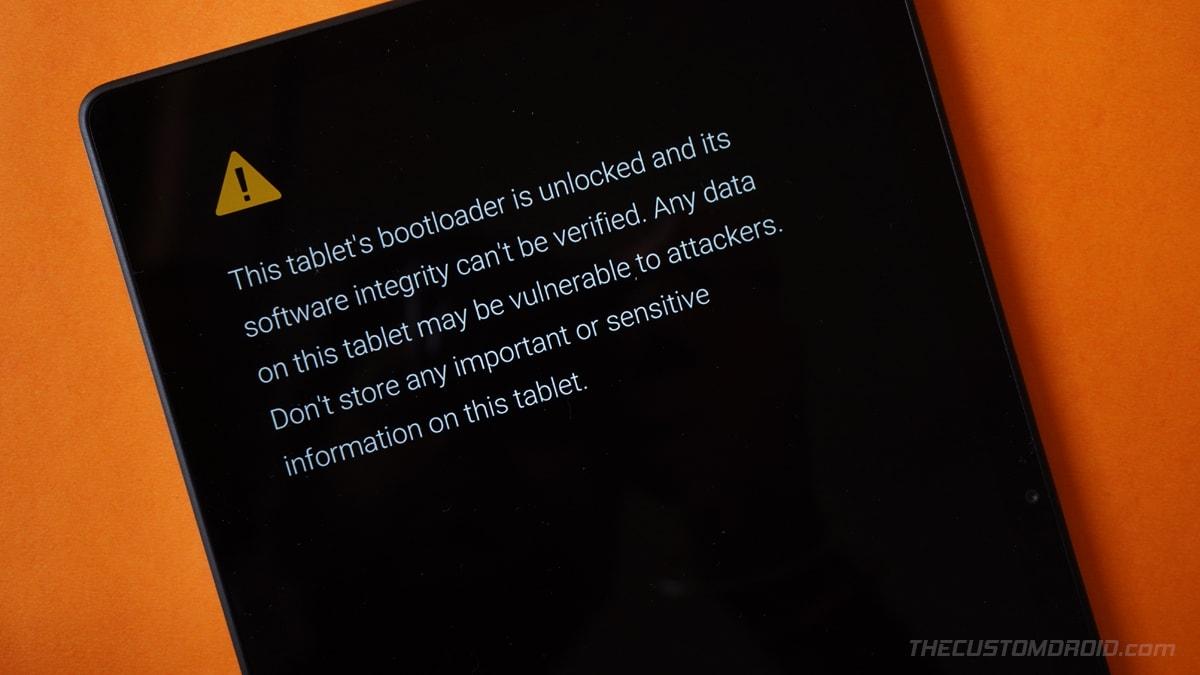 Unlocked Bootloader Warning Message on Galaxy Tab A7 10.4