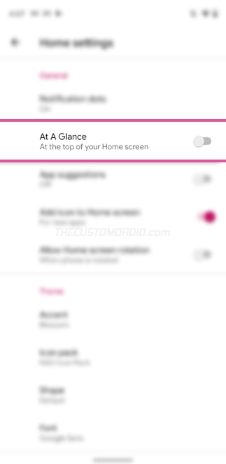 Disable 'At a Glance' widget in Shade Launcher