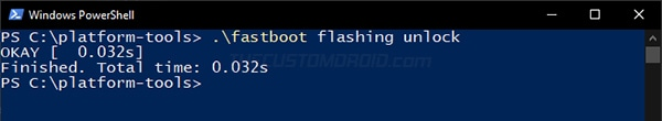 """Enter """"fastboot flashing unlock"""" command to unlock bootloader on OnePlus Nord"""