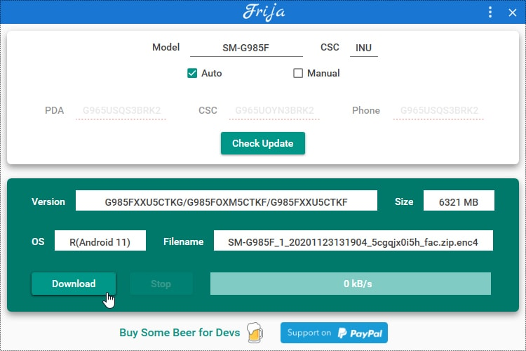 Download One UI 3.0 firmware for Galaxy S20 using Frija