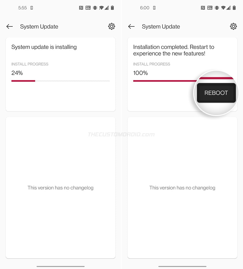 """Manually Install OxygenOS on OnePlus 8T - Select """"Reboot"""""""