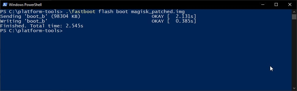 Flash the Patched Boot Image to root OnePlus 8T using Magisk