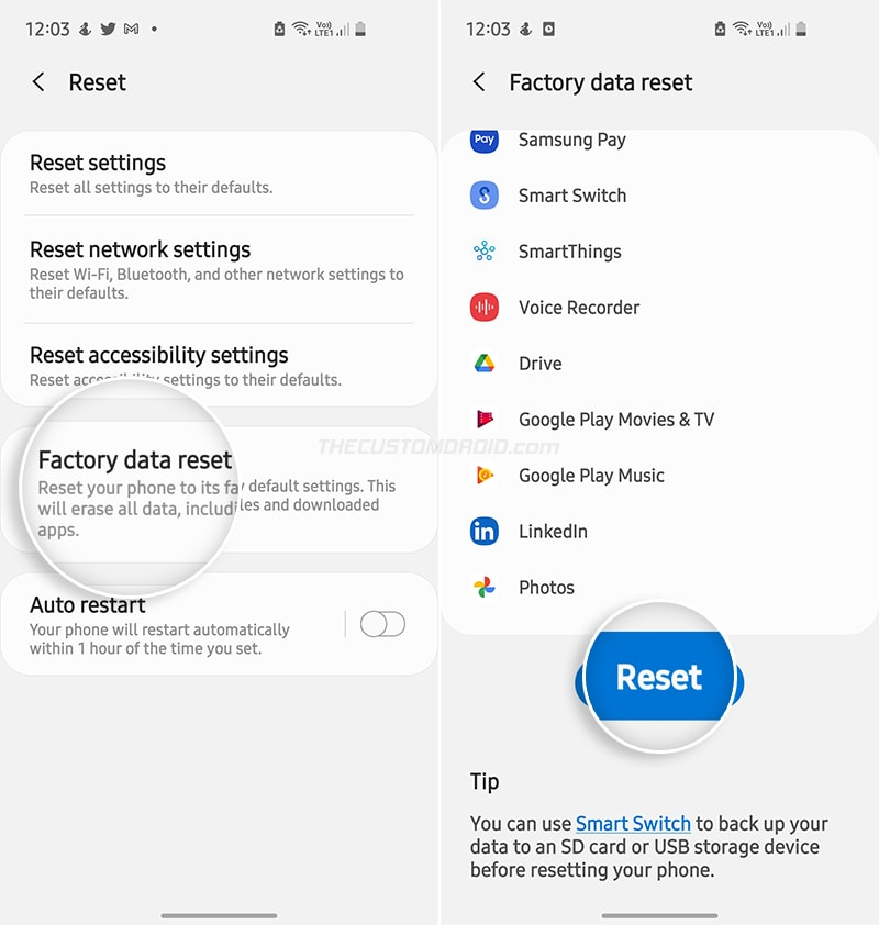 """Select """"Factory data reset"""" from the list"""