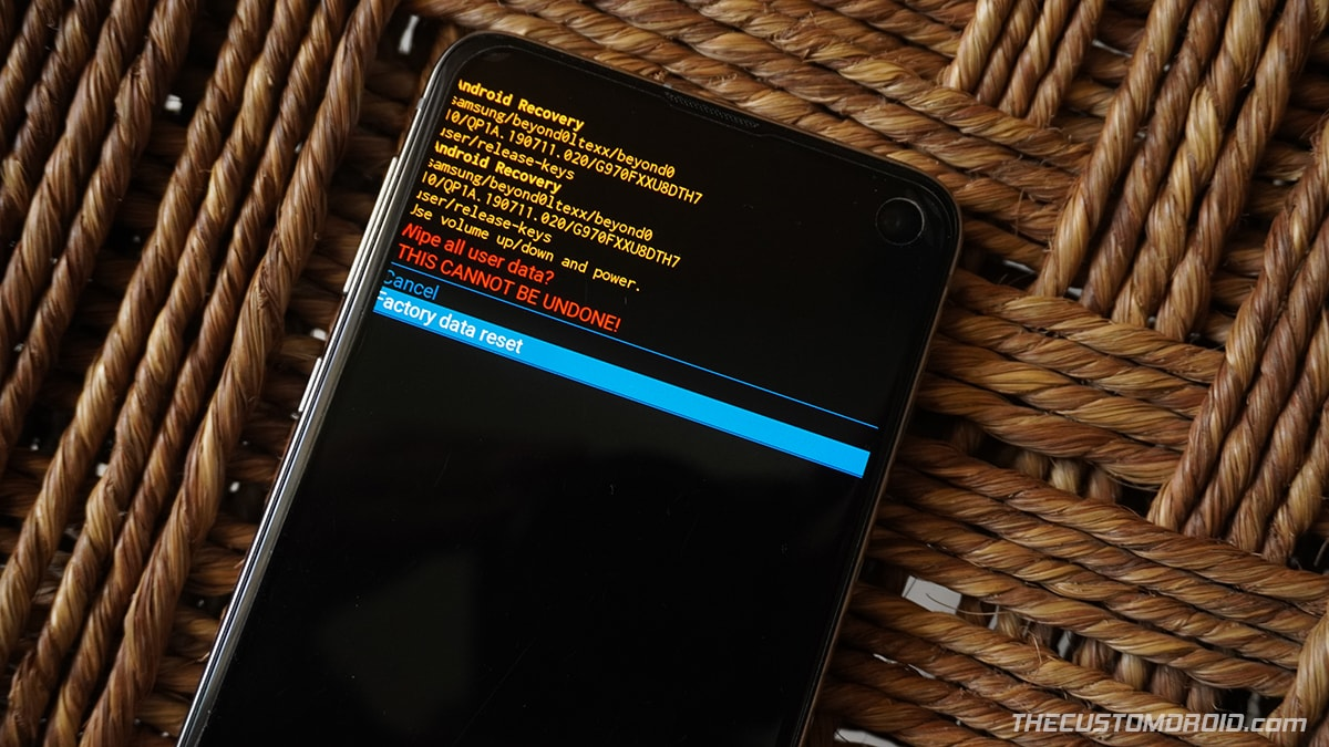"""Select """"Factory data reset"""" in Stock Recovery to factory reset Galaxy S20"""