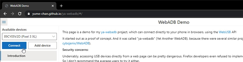 Connect your Android device to WebADB