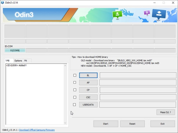 Odin shows COM port of connected Galaxy S20 in Download Mode