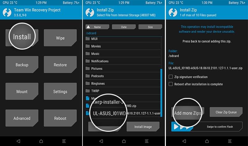 Flash firmware OTA package on Zenfone 6 using TWRP