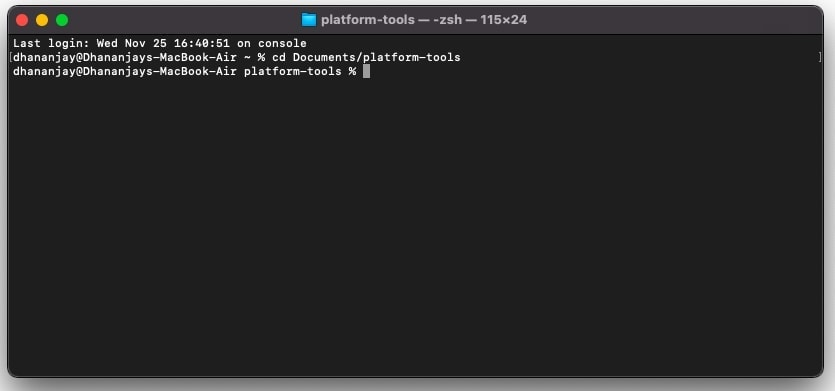 Launch Terminal window inside 'platform-tools' folder