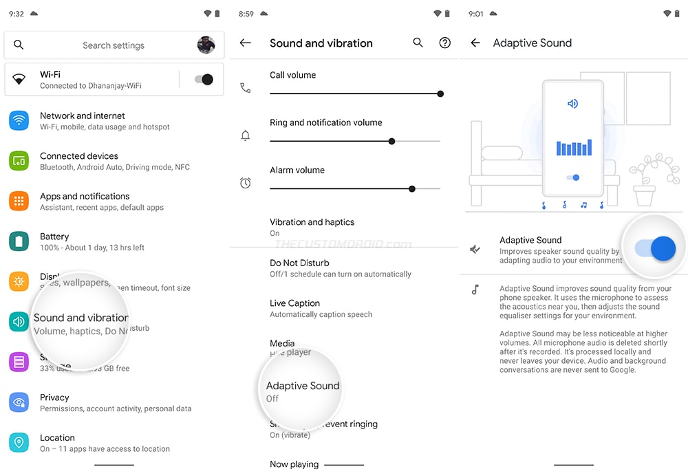 Adaptive Sound in Settings menu on Pixel