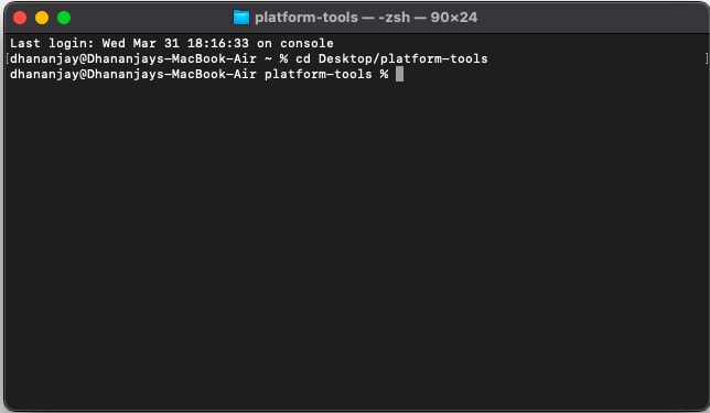 Change Terminal directory to Platform-Tools folder on macOS/Linux using cd command