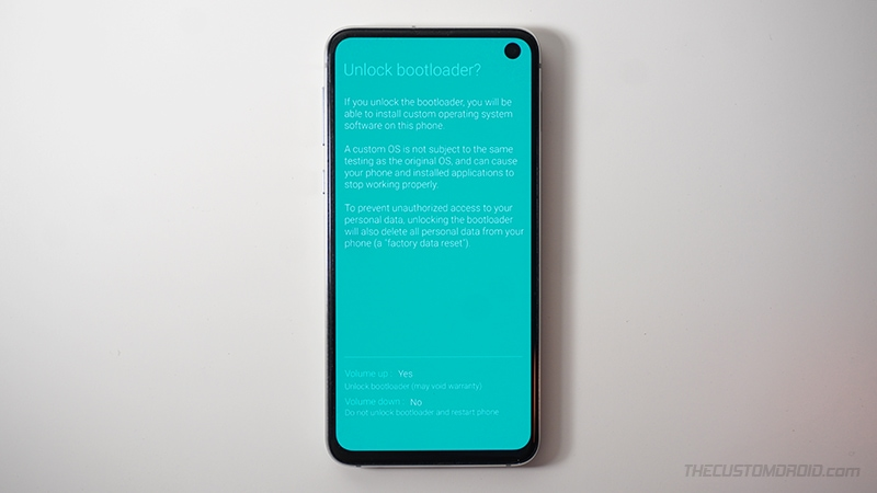 Press Volume Up to confirm and unlock bootloader on Samsung Galaxy device